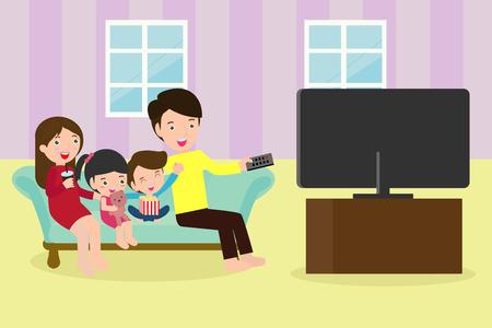 Illustratie van een gezin dat samen naar een tv-programma kijkt, een gelukkige familie die televisie kijkt terwijl ze thuis op de bank zit