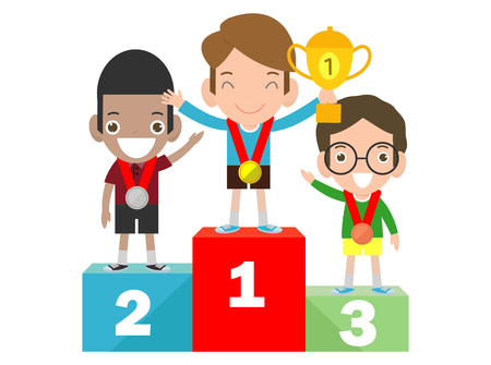 Children with medals for victory stand on the sports pedestal,  Medalists kids standing on competition winner podium