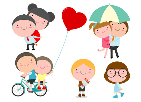 Cute couples with isolated on white background vector illustration