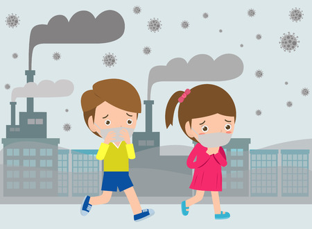 kids in masks because of fine dust, boy and girl wearing mask against smog. Fine dust, air pollution, industrial smog protection concept flat style design vector illustration. Illustration