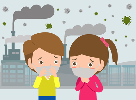 kids in masks because of fine dust, boy and girl wearing mask against smog. Fine dust, air pollution, industrial smog protection concept flat style design vector illustration. Ilustrace
