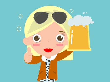 Woman Holding Beer, Happy people character drinks beer. women drinking beer, female with beer, poster and decorate your blog or website. Çizim