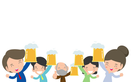 Happy business man and woman drinking beer, Office workers toast, people character drinks beer. poster and decorate your blog or website