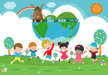 Dzieci do ratowania ziemi, ocalić świat, ocalić planetę, ekologia koncepcja, słodkie dziecko postać z kreskówki na białym tle na białym tle ilustracji wektorowych