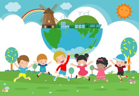 Kinder für die Rettung der Erde, rette die Welt, rette den Planeten, Ökologiekonzept, süße Kinderzeichentrickfigur isoliert auf weißer Hintergrundvektorillustration