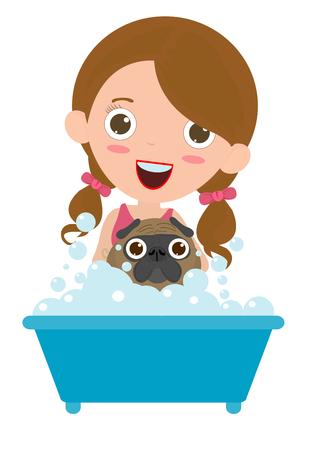 Women washing the dog, Happy puppy Having a Bath, dog grooming, Vector flat cartoon illustration 向量圖像