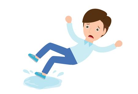 L'homme glisse sur le sol mouillé Vector. Danger de glissade, signe de prudence. Illustration de personnage de dessin animé plat isolé