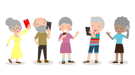old people with smartphone, elderly with Mobile, senior with gadgets, People with their smartphone,person on social network, Smartphone addiction Isolated on white background