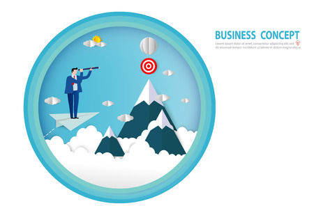 businessman looking into telescope search opportunity flying on paper plane above clouds. goals, success, Paper art style, people business concept vector flat design illustration