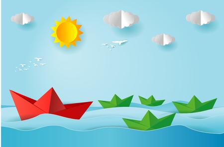 Barco de origami navegando en el océano, arte en papel y estilo de artesanía digital, concepto de liderazgo, ilustración vectorial plana.