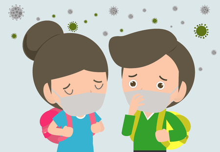 kids in masks because of fine dust PM 2.5, boy and girl wearing mask against smog. Fine dust, air pollution, industrial smog protection concept flat style design vector illustration. 일러스트
