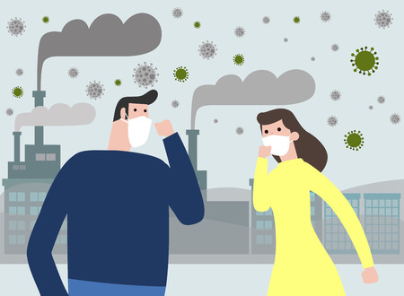 People in masks because of fine dust PM 2.5 , man and woman wearing mask against smog. Fine dust, air pollution, industrial smog protection concept flat style design vector illustration.