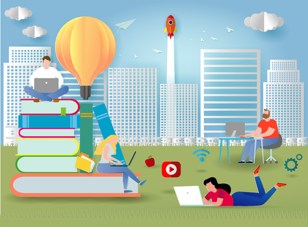 knowledge online. distance education concept. video tutorial, training courses. small people laying on books and textbooks while surfing internet with a laptop for ideas.Paper cut and craft style Vector Illustration