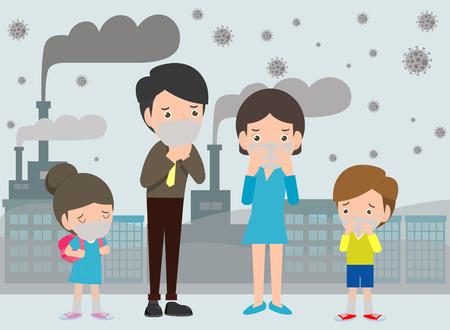 Personas con máscaras debido al polvo fino PM 2.5, hombre, mujer y niño, con máscara contra el smog. Polvo fino, contaminación del aire, ilustración de vector de diseño de estilo plano de concepto de protección de smog industrial.