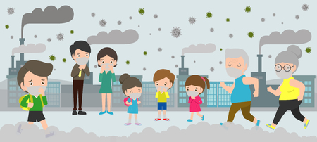 People in masks because of fine dust PM 2.5, man and woman and child,wearing mask against smog. Fine dust, air pollution, industrial smog protection concept flat style design vector illustration.  イラスト・ベクター素材