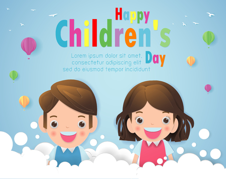 Paper art of Happy children's day background, Paper cut and craft style.you text, Origami Vector illustration.