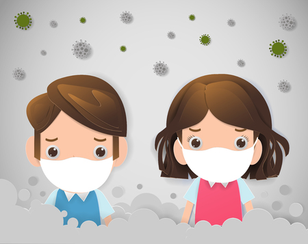 kids in masks because of fine dust PM 2.5, boy and girl wearing mask against smog. Fine dust, air pollution, industrial smog protection concept flat style design vector illustration. Çizim
