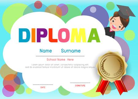 Certificati scuola materna ed elementare, modello di disegno del modello di certificato di diploma per bambini in età prescolare, modello di diploma per studenti della scuola materna, certificato di diploma per bambini Vettoriali