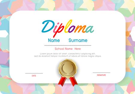 Zertifikate Kindergarten und Grundschule, Vorschulkinderdiplom-Zertifikatmuster-Designvorlage, Diplomvorlage für Kindergartenschüler, Zertifikat des Kinderdiploms