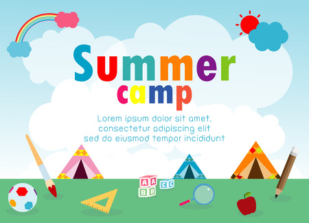 kids summer camp education Template for advertising brochure, children doing activities on camping , poster flyer template, your text ,Vector Illustration Illustration