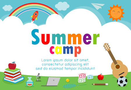 kids summer camp education Template for advertising brochure, children doing activities on camping , poster flyer template, your text ,Vector Illustration Stok Fotoğraf - 121188631