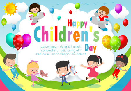 Happy children day background, childrens day poster with happy kids Template for advertising brochure your text ,Vector Illustration