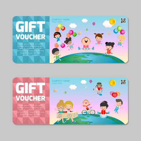 Gift voucher template with colorful pattern,cute gift voucher certificate coupon design template, kids voucher Vector illustration  イラスト・ベクター素材
