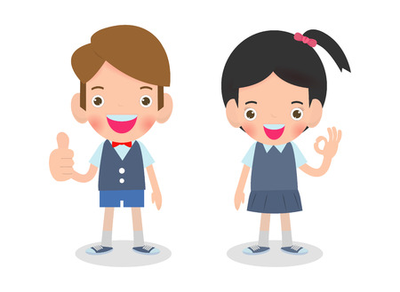 Vector illustration of Happy kids shows thumbs up and shows hand okay sign Isolated on white background