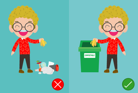 Do not throw littering butts on the floor,wrong and right, male character that tells you the correct behavior to recycle.vector illustration Иллюстрация
