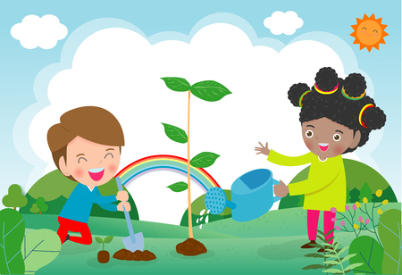 Vector Illustration of kids planting in a park. children plant trees. Save the World concept. Vectores