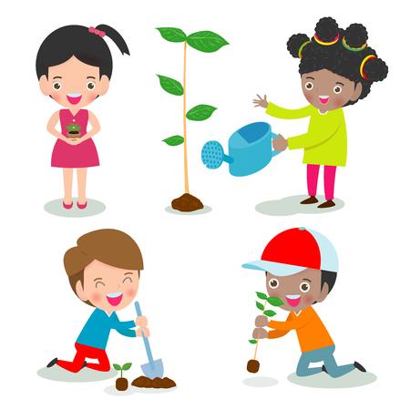 Illustrazione vettoriale di bambini che piantano in un parco, i bambini sono alberi di piante, volontari bambini carini, salva il mondo isolato su sfondo bianco Illustrator Vector Vettoriali