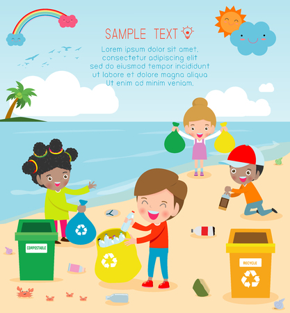 Group of Volunteer Children Cleaning Beach,Template for advertising brochure,your text, Save the World, poster background Illustrator Vector