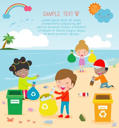Gruppo di bambini volontari che puliscono la spiaggia, modello per brochure pubblicitaria, il tuo testo, salva il mondo, sfondo poster Illustrator Vector