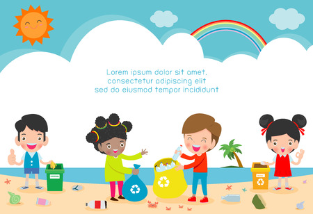 Group of Volunteer Children Cleaning Beach,Template for advertising brochure,your text, Save the World, poster background Illustrator Vector 版權商用圖片 - 121188702