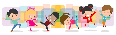 kid dancing together, Children dancing break dance. boys and girls dancer, Happy multiracial child jumping on background colorful isolated vector illustration Stock Illustratie