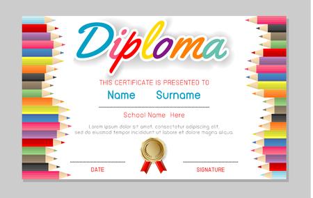 Certificato bambini diploma, scuola materna modello layout spazio sfondo cornice disegno vettoriale. Modello di diploma per studenti della scuola materna, certificato di diploma per bambini, concetto di istruzione prescolare. Vettoriali