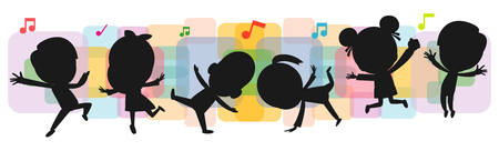 kids silhouettes dancing, Child dancing break dance. children silhouettes jumping on background colorful isolated vector illustration