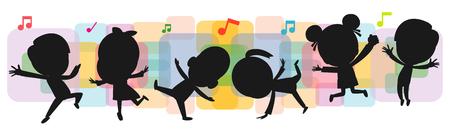 silhouettes d'enfants dansant, danse d'enfant danse break dance. silhouettes d'enfants sautant sur fond illustration vectorielle isolé coloré