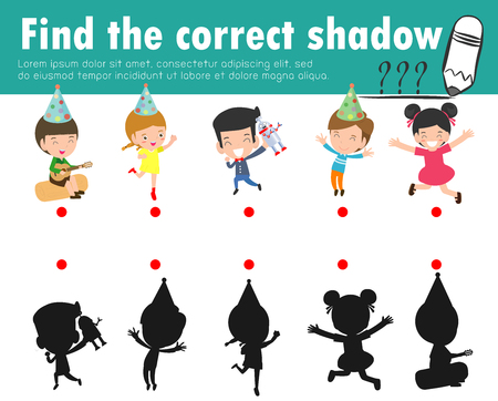 Cute little children,Find the correct shadow. Educational game for child, Shadow Matching Game for kids, Visual game for kid. Connect the dots picture, Education Vector Illustration. 矢量图像