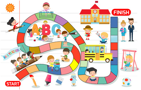 board game with children back to school, Illustration of a board game with Education background, kids board game, child board game 일러스트