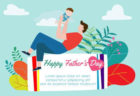 Happy Father's Day greeting card. flat design,stock vector illustration Vectores