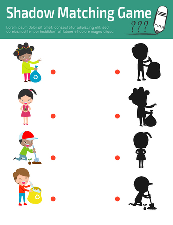 Shadow Matching Game for kids, Visual game for kid.Instructional media, Connect the dots picture,Education Vector Illustration. Banque d'images - 121190325