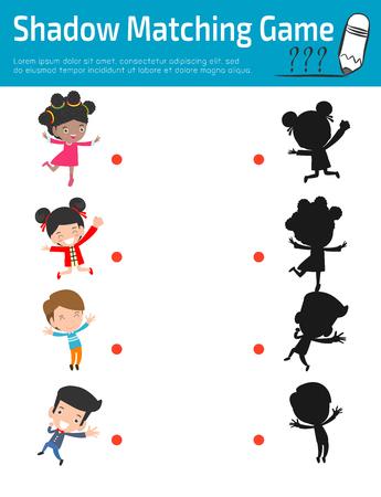 Shadow Matching Game pour les enfants, jeu visuel pour les enfants. Médias pédagogiques, Connecter l'image de points, Illustration vectorielle de l'éducation.