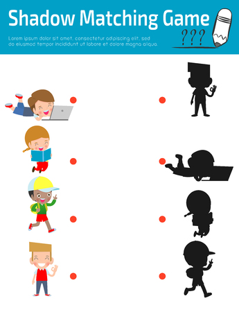 Shadow Matching Game for kids, Visual game for kid. Instructional media, Connect the dots picture,Education Vector Illustration. Banque d'images - 121190330