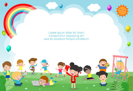happy children playing in playground. Template for advertising brochure. Ready for your message. background vector illustration 스톡 콘텐츠 - 121190336