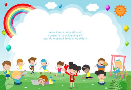 niños felices jugando en el patio de recreo. Plantilla para folleto publicitario. Listo para su mensaje. ilustración vectorial de fondo