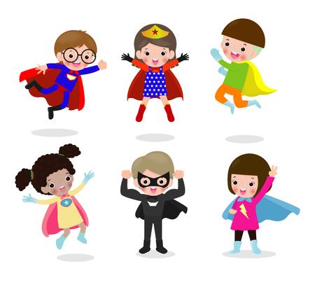 Set di cartoni animati di bambini supereroi che indossano costumi di fumetti, bambini con set di costumi da super eroe, bambino in personaggi di costume da supereroe isolati su sfondo bianco, carino piccolo supereroe per bambini Vettoriali