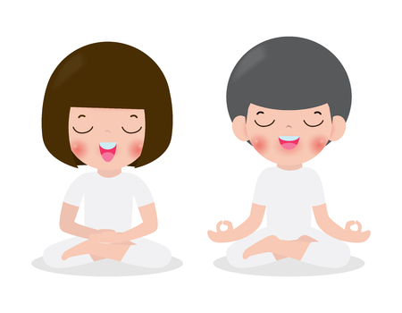 Young woman and man couple meditating in lotus pose. Cute cartoon yoga and meditation flat style. Vector illustration isolated on white background
