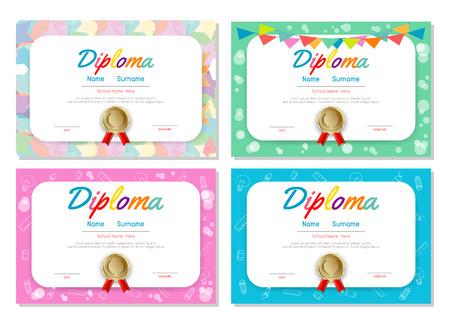 set of Certificates kindergarten and elementary, Preschool Kids Diploma certificate pattern design template, Diploma template for kindergarten  kids students. Çizim