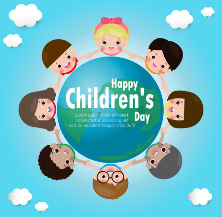 International Children's Day. kids holding hands in a circle on the globe. poster with happy kids around the world vector illustration Standard-Bild - 122021860